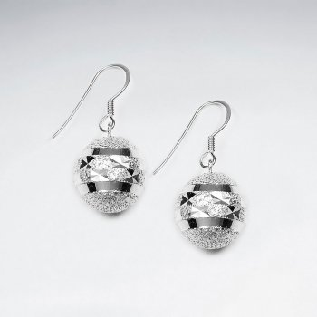 Egg Shaped Polished Silver Dangle Drop Charm Earrings