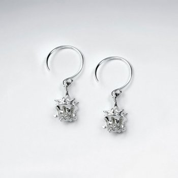 Elaborate Design Organic Shape Sterling Silver Crinkled Drop Hook Earrings