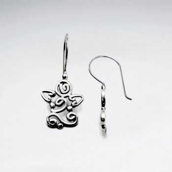 Elaborate Open Artisan Star Design Oxidized Dangle Earrings