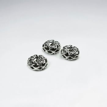 Elaborate Oxidized Silver  Pattern Beads Pack Of 5 Pieces