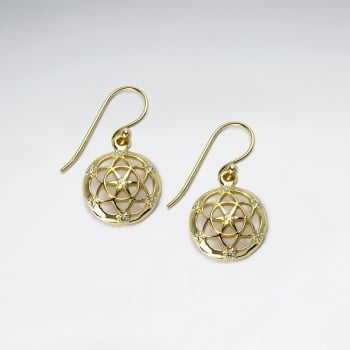 Elaborate Sterling Silver Filigree Circle Drop Earrings