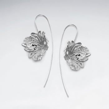 Elaborate Sterling Silver Flower Blossom Threader Earrings