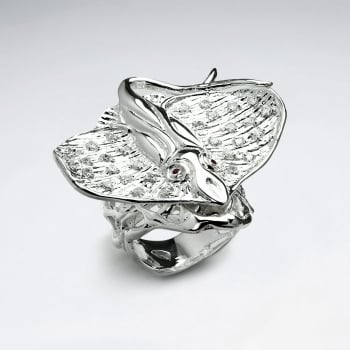 Elaborate Style Fashion Statement Ring in CZ & Sterling Silver