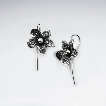 Elaborate Textured Flower Hook earrings