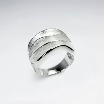 Elaborate Wavy Oversized Modern Styling Silver Ring