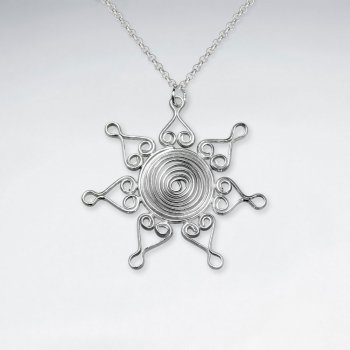 Elaborate Wirework Ornate Sun Inspired Silver Pendant