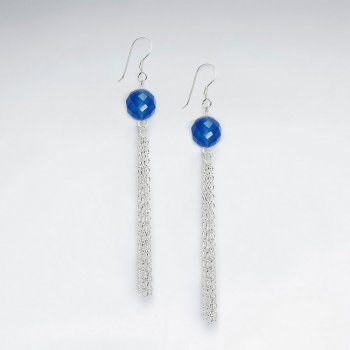Elegant Blue Stone Earrings With Silver Dangle Chain and Shepherds Hook