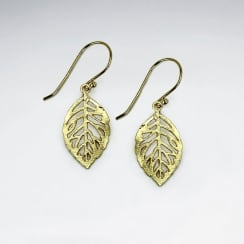 Elegant Cut Out Filigree Drop Leaf Dangle Hook Earrings