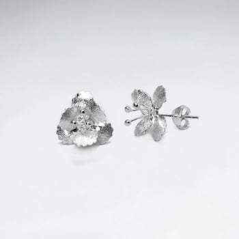 Elegant Dimensional Flower Earrings in Sterling Silver