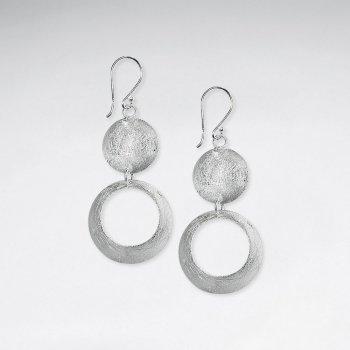 Elegant Double Tier Round Pendant Hoop Style Dangle Hook Earrings