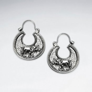 Elegant Elephant Textured Disc Hoop Earrings
