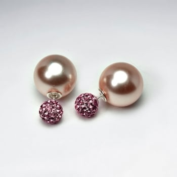 Elegant Finishes Faux Pearl Ball Stud Earrings