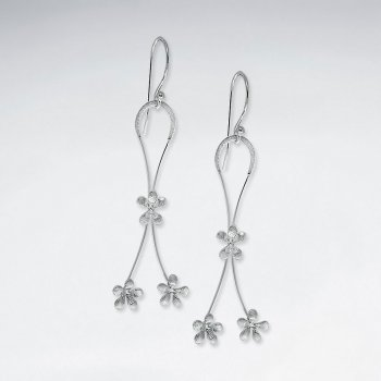 Elegant Flower Drop Charm Dangle Earrings