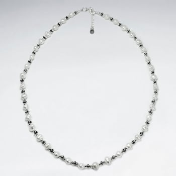 Elegant Full Silver & Pearl Necklace