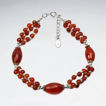 Elegant Occasions Carnelian Ball and Oval Bead Bracelet