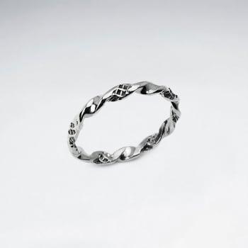 Elegant Oxidized Silver Dainty Designs Twist Ring