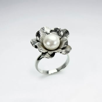 Elegant Oxidized Silver Pearl Flower Ring