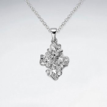 Elegant Polished Flower Cluster Pendant in a Bouquet of Sterling Silver