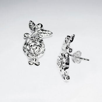Elegant Polished Silver Rose Bloom Stud Earrings