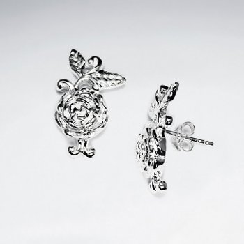 Elegant Polished Silver Rose Bloom Stud Earrings