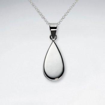 Elegant Polished Silver Teardrop Pendant
