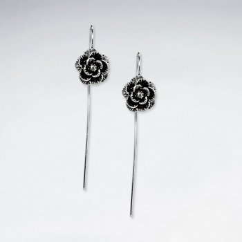 Elegant Rosebud Oxidized Silver Chain Dangle Drop Earrings