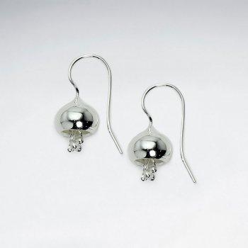 Elegant Silver Flower Inspired Drop Hook Earrings