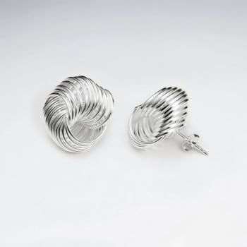 Elegant Silver Knot Stud Earrings