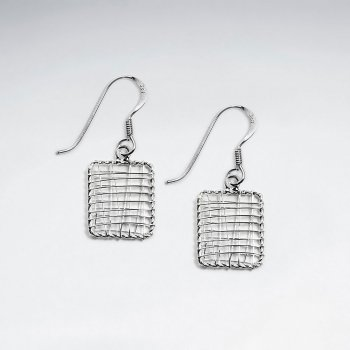 Elegant Silver Wire Work Square Earrings With Delicate Twist Edging