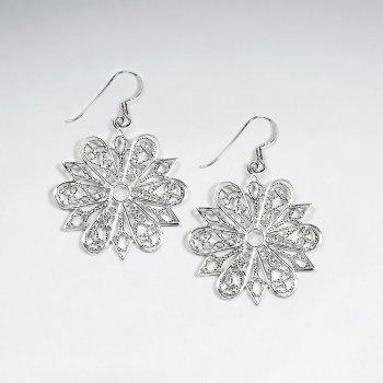 Elegant Snowflake Shape Filigree Silver Dangle Hook Earrings