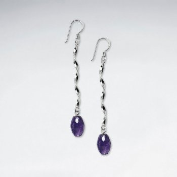 Elegant Sterling Silver Dangle Earrings With Purple Amethyst Stones