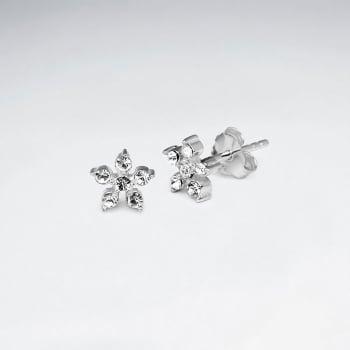 Elegant Sterling-Silver Five-Pointed Star Crystal Design Earrings