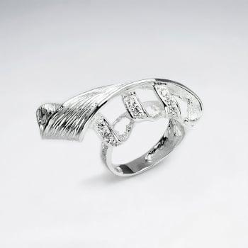 Elegant Swirls CZ & Sterling Silver Cocktail Ring