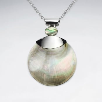 Elegant Women's Mother Of Pearl & Abalone  Shell Circle Pendant