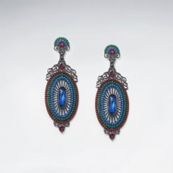 Empress Ornate Brass Glass Bead Oval Drop Earring