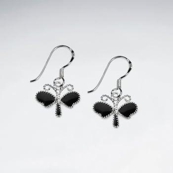 Enamel Dragonfly Dangle Earrings in Sterling Silver