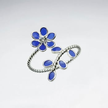 Enamel Flower and Leaf Wrap Ring
