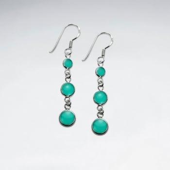 Enamel Gradual Cascade Silver Dangle Earrings