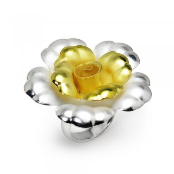 Enchanted Days Silver and Gold Flower Cocktail Ring