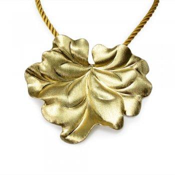 Enchanting Gold Plated Sterling Silver Leaf Pendant