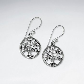 Enchanting Oxidized Silver Filigree Trees of Life Circular Dangle Earrings
