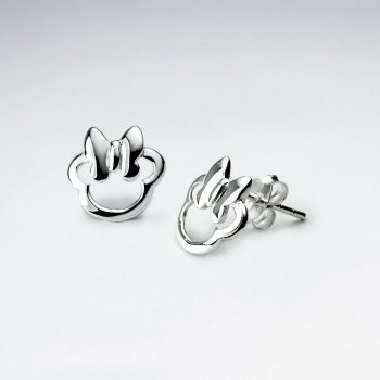 Enchanting Silver Open Silhouette Stud Earrings Featuring Polished Bow