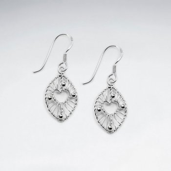 Equisite Silver Wire Work Oval Earrings Featuring Petite Open Heart Center