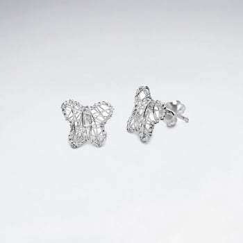 Ethereal Butterfly Silhouette Silver Wirework Stud Earrings