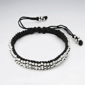 Everyday Black Waxed Cotton Full Silver Bead Bracelet