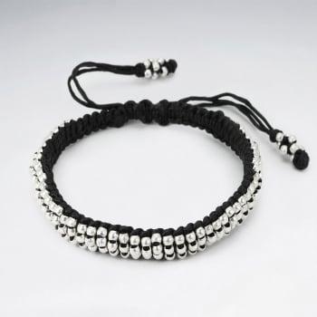 Everyday Black Waxed Cotton Full Silver Bead Bracelet