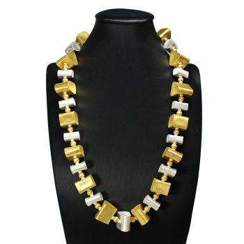 Exotic Beauty Gold Tone and Sterling Silver Chunky Necklace