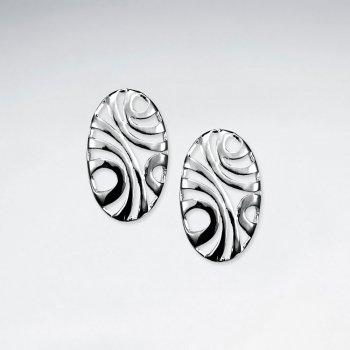 Exotic Elegant Open Oval Silver Filigree Long Stud Earrings