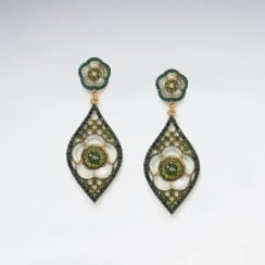 Exotic Garden Escape Brass Mixed Color Crystal Earrings