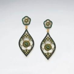 Exotic Garden Escape Brass Mixed Color Crystal Earrings
